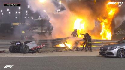 foto: Gran Premio de Baréin: Nueva victoria de Hamilton y Grosjean sobrevive a un accidente brutal